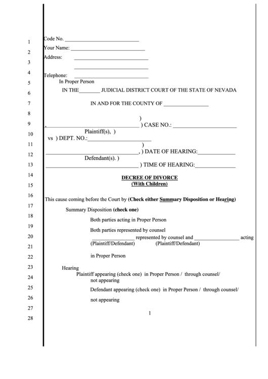 Fillable Decree Of Divorce (With Children) Printable pdf