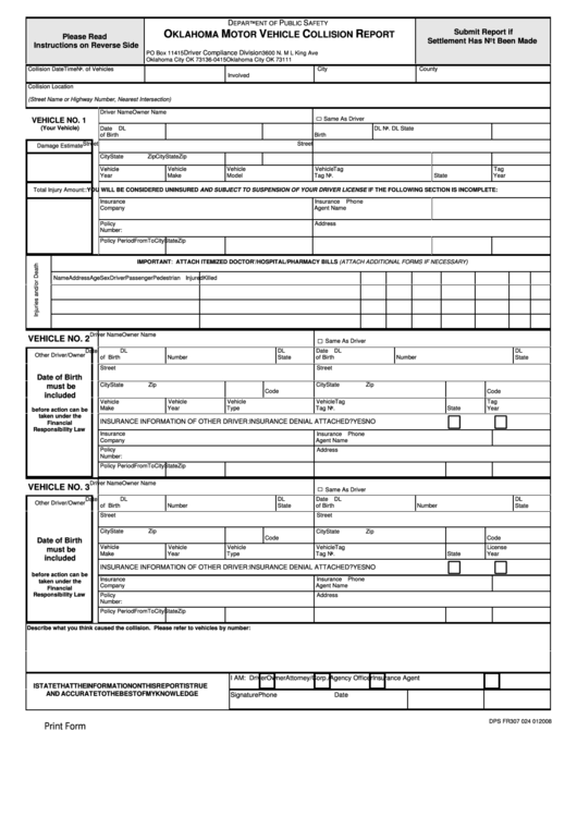 Top 11 oklahoma dmv forms and templates free to download for Dmv motor vehicle report