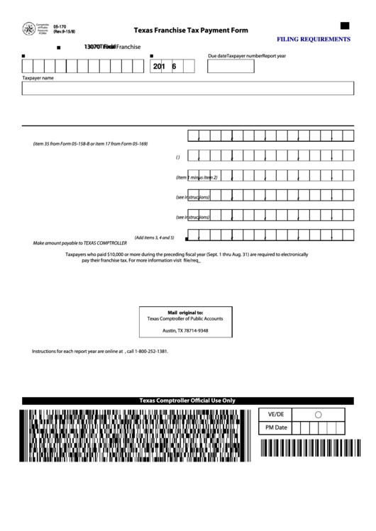 Fillable 05 170 2015 Texas Franchise Tax Payment Form