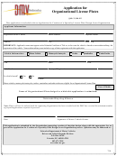 Application For Organizational License Plates