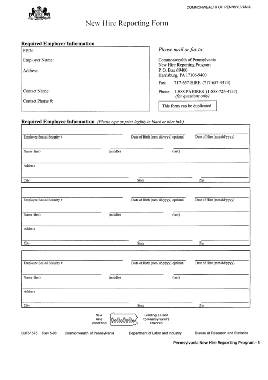 Top 6 Pa New Hire Reporting Form Templates free to download in PDF ...