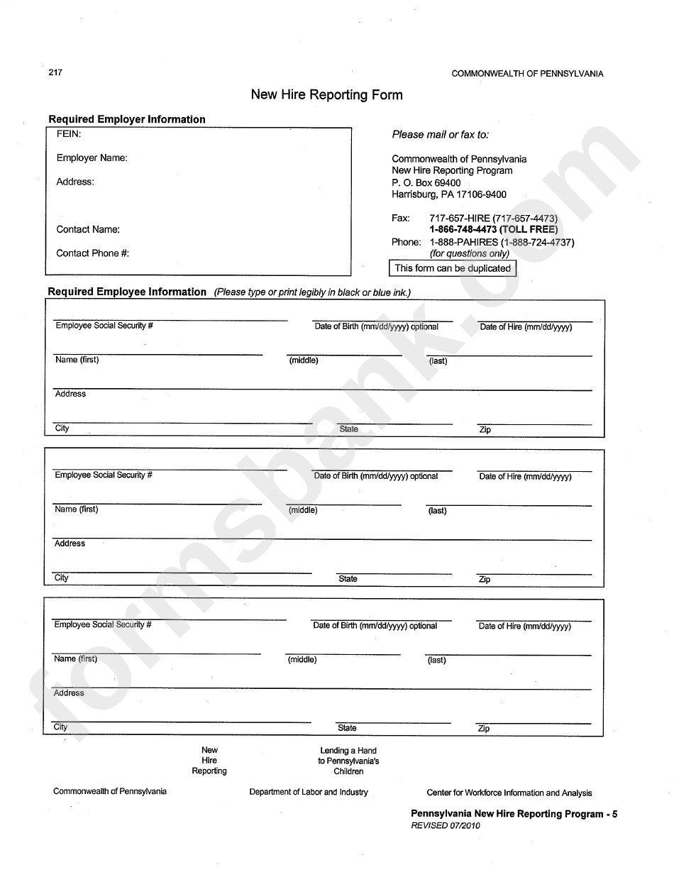 New Hire Reporting Form