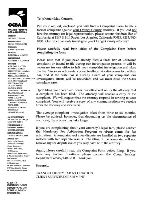 Orange County Bar Association Client Relations Complaint Form