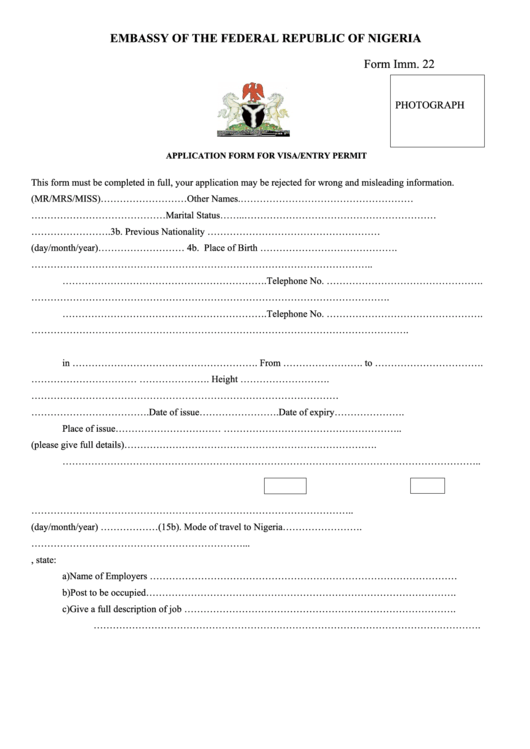 Form Imm. 22 - Application Form For Visa/entry Permit