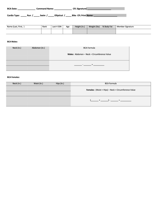 Bca Form - Navy Fitness printable pdf download