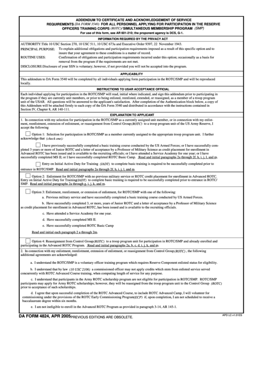 Fillable Addendum To Certificate And Acknowledgement Of Service Requirements Printable pdf