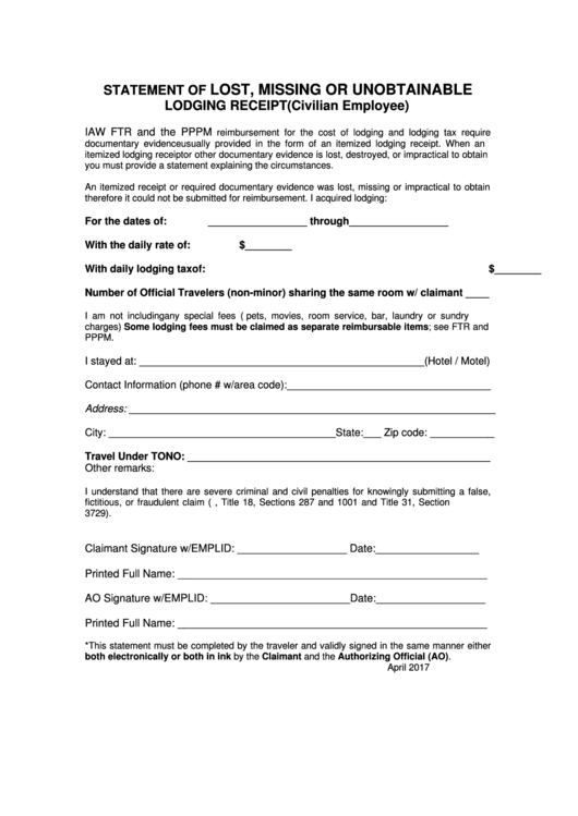 Statement Of Lost, Missing Or Unobtainable Lodging Receipt Form (civilian Employee)