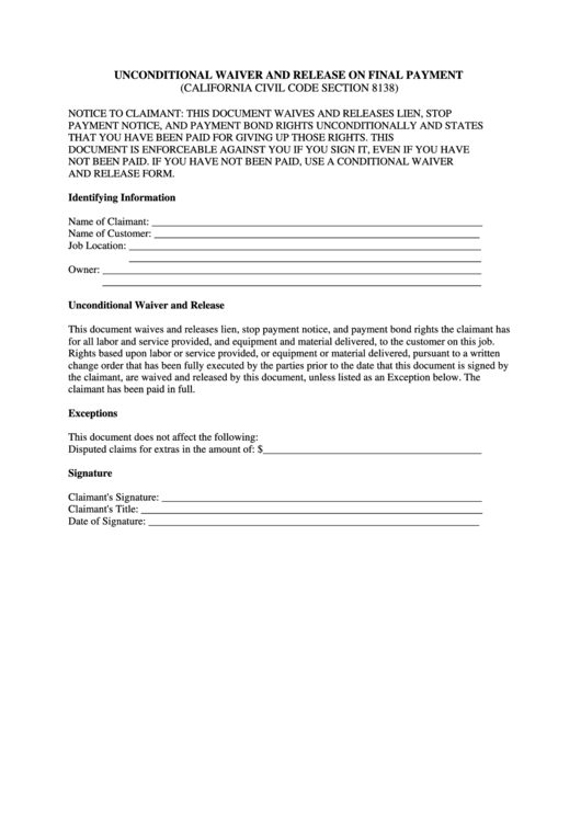Unconditional Waiver And Release On Final Payment Form