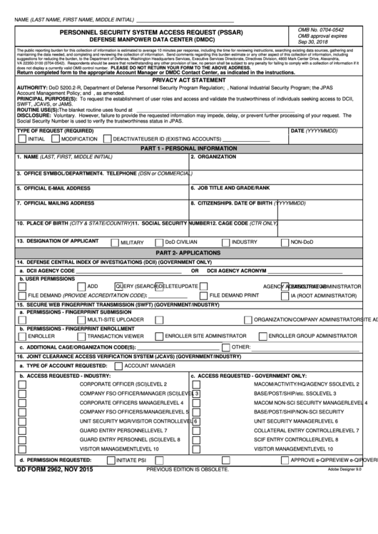 Fillable Dd Form 2962 - Personnel Security System Access Request