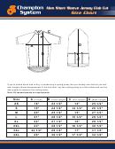 Champion System Men Short Sleeve Jersey Club Cut Size Chart