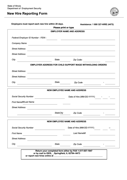 New Hire Reporting Form printable pdf download