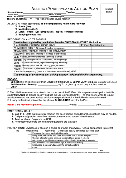 allergy action plan template - fillable allergy anaphylaxis action plan template