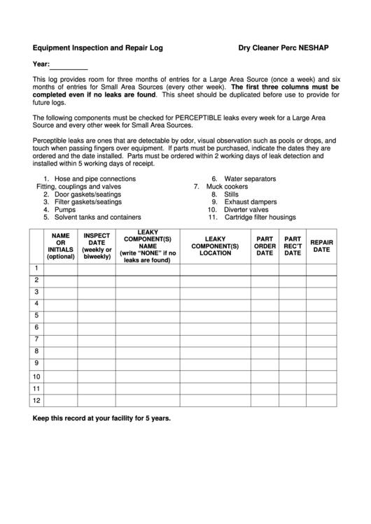equipment inspection and repair log printable pdf download