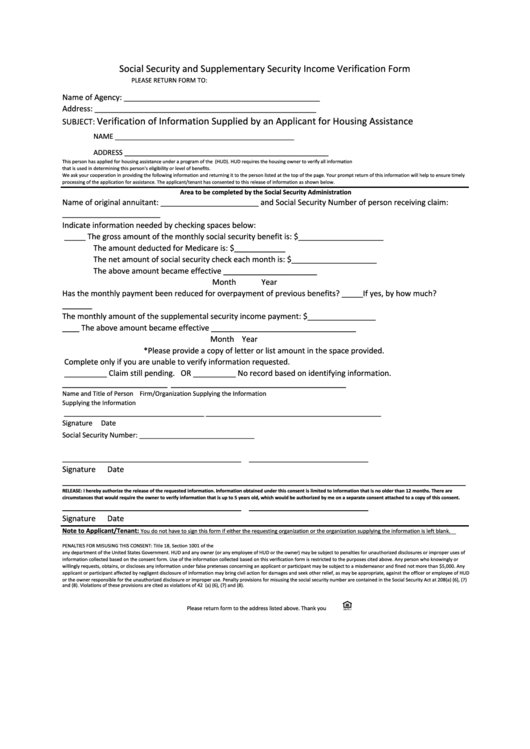 Social Security And Supplementary Security Income Verification Form