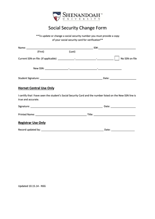 Social Security Change Form