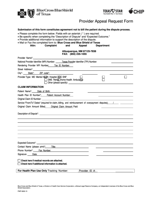 Bluecross Blueshield Of Texas Provider Appeal Request Form ...