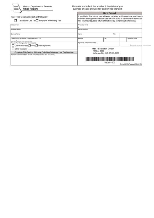 Form 5633 Missouri Department Of Revenue - Final Report