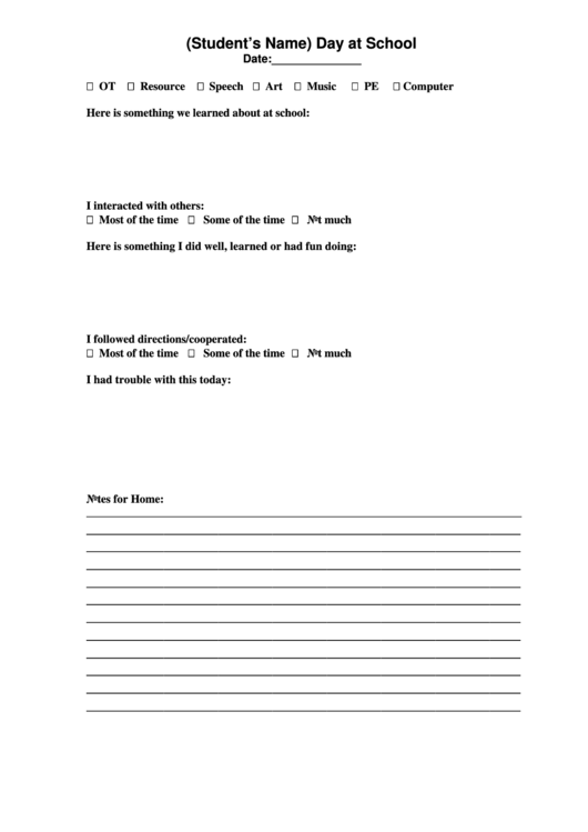 Blank Day At School Template