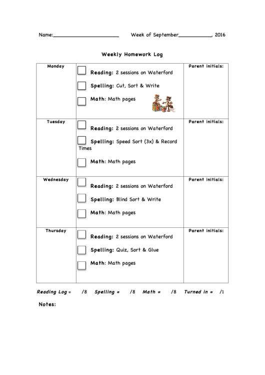 Weekly Homework Log Template (sample)