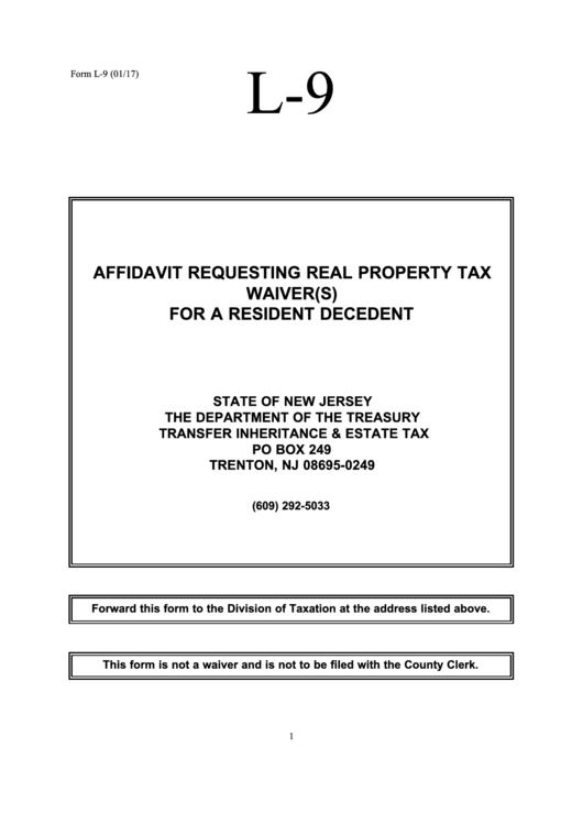 L-9, 2017, Inheritance Tax Waiver Request printable pdf download