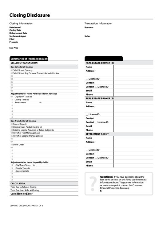 closing disclosure printable pdf download