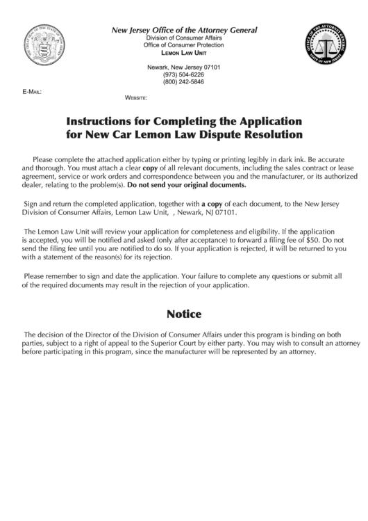 fillable new car lemon law dispute resolution application. Black Bedroom Furniture Sets. Home Design Ideas