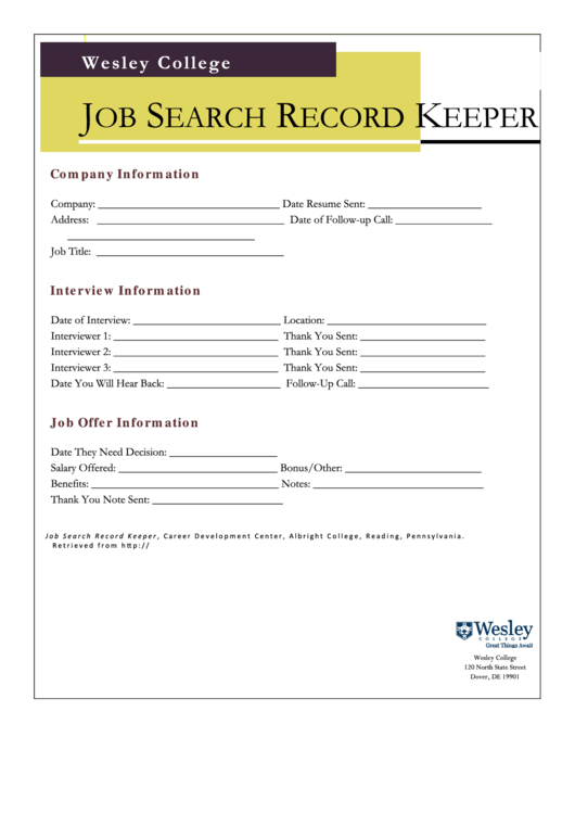 job search record keeper printable pdf download