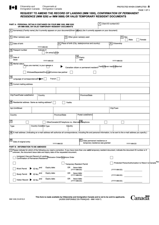 Fillable Imm 1436e - Request To Amend Immigration Record Of Landing (Imm 1000) Or Confirmation Of Permanent Residence Or Valid Temporary Resident Documents Printable pdf