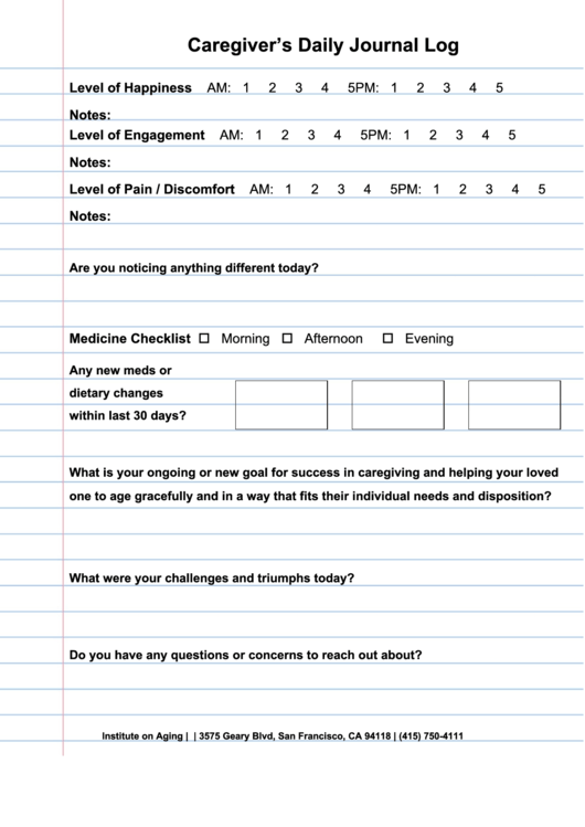 Caregiver's Daily Journal Log Template