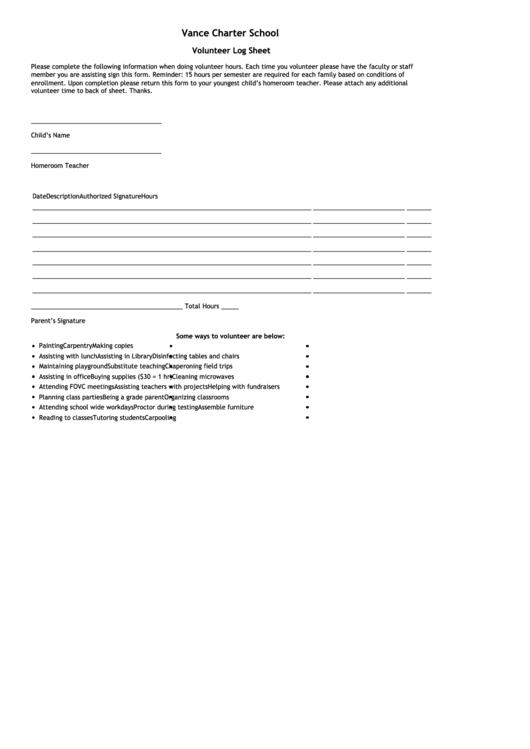 Volunteer Log Sheet Template