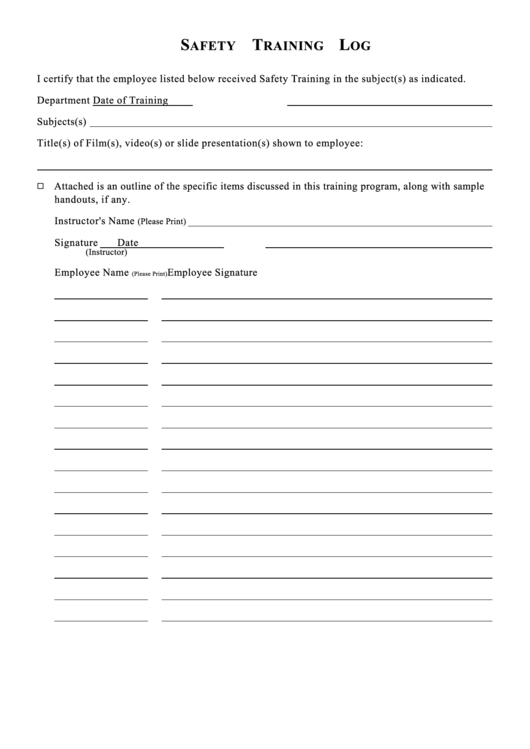 safety training log for employees printable pdf download