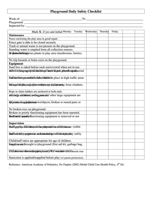 playground daily safety checklist printable pdf download