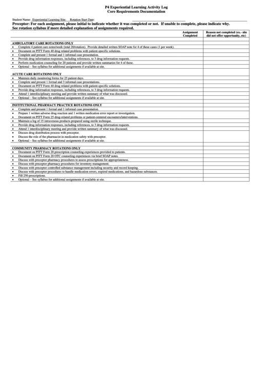 P4 Experiential Learning Activity Log