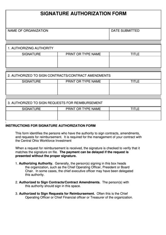 Signature Authorization Form Printable pdf