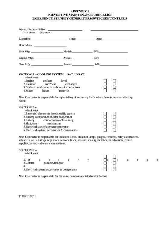 Appendix 1 Preventive Maintenance Checklist Emergency