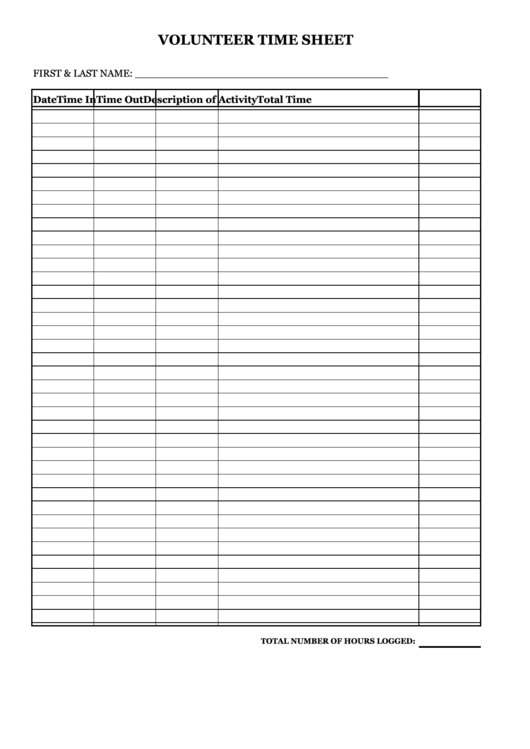 Volunteer Time Sheet Template Printable pdf