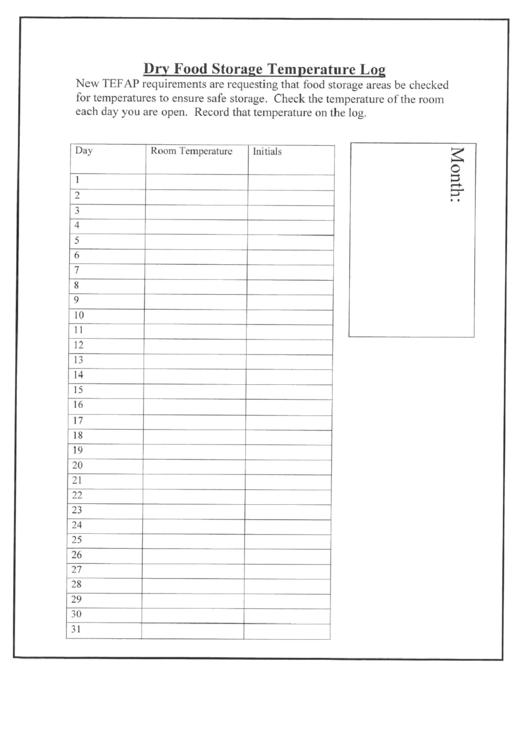 Dry Food Storage Temperature Log Printable Pdf Download