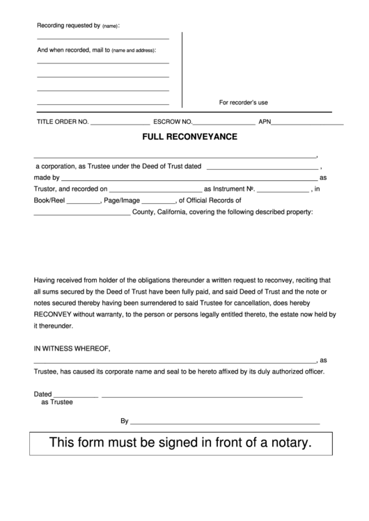 Top 10 Deed Of Reconveyance Form Templates free to download in PDF ...