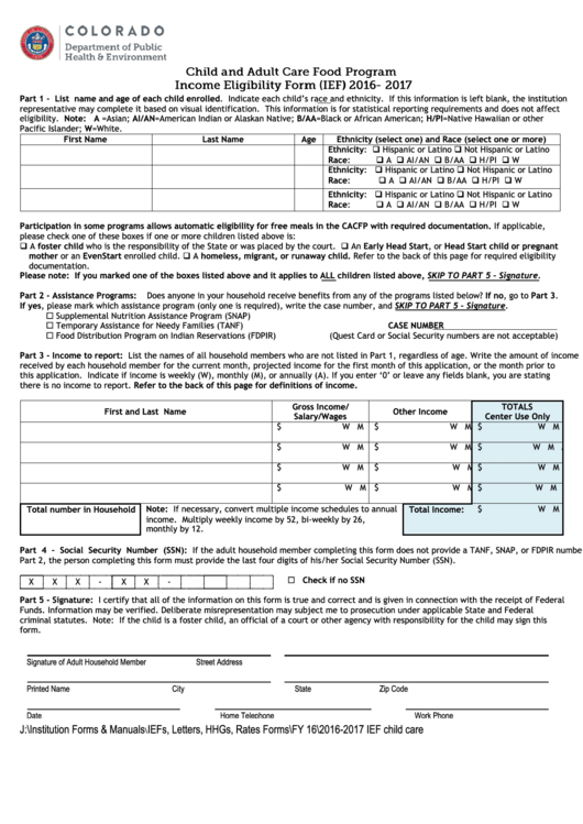 Child And Adult Care Food Program Income Eligibility Form - 2016