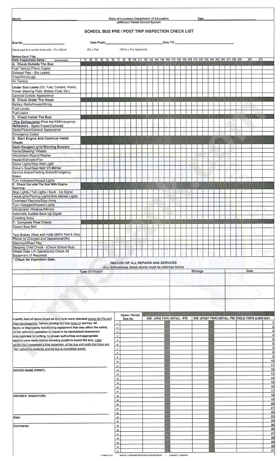 School Bus Pre/post Trip Inspection Check List Template