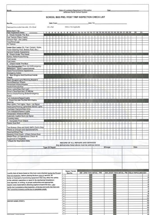 School Bus Pre/post Trip Inspection Check List Template Printable pdf