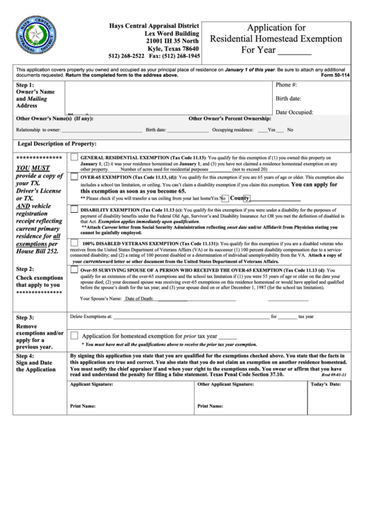 Form 50-114 - Hays District Texas Homestead Exemption Form (Page 2 ...