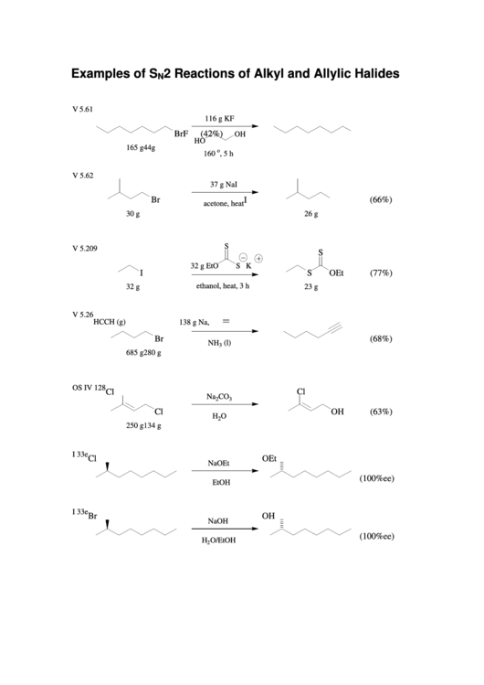 Examples Of Sn2 Reactions Of Alkyl And Allylic Halides
