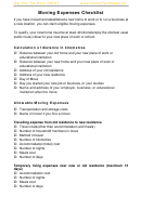 Moving Expenses Checklist Template