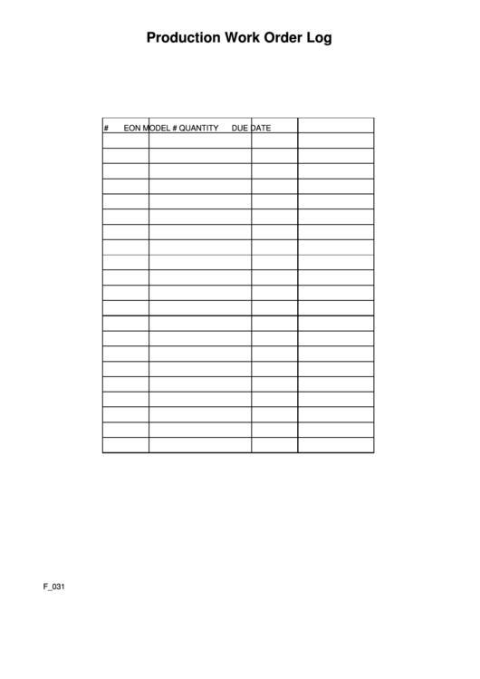production work order log printable pdf download