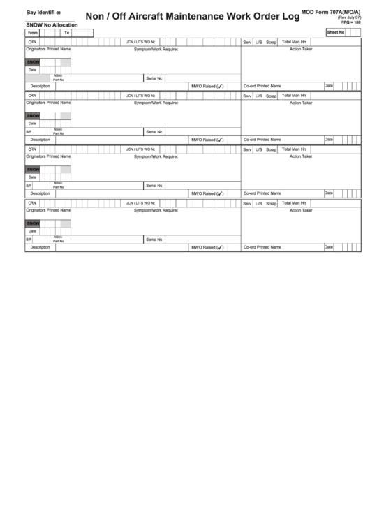 Mod Form 707a - Non / Off Aircraft Maintenance Work Order Log