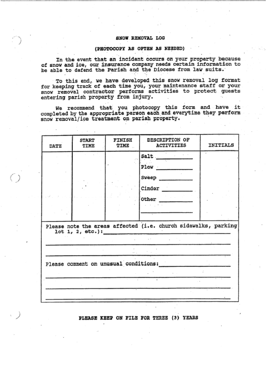 snow removal log printable pdf download