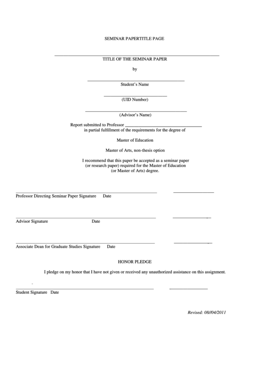 Fillable Seminar Paper Title Page Printable pdf