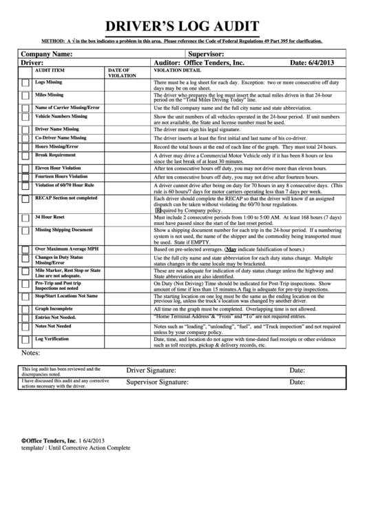 Driver S Log Audit Printable Pdf Download