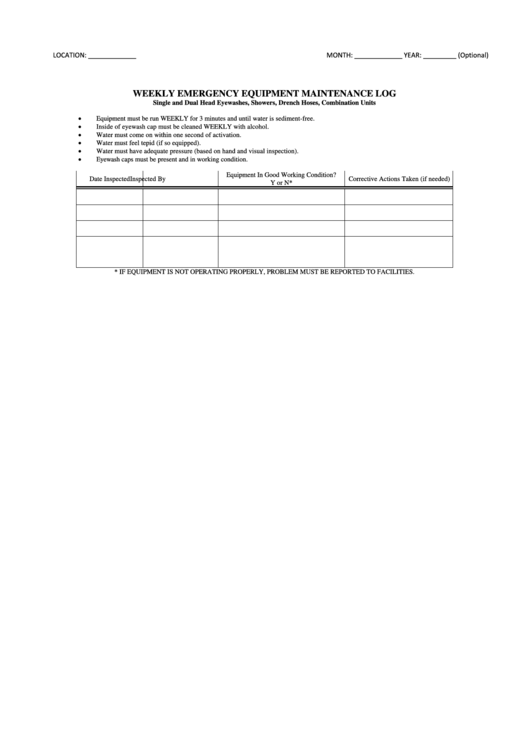 Weekly Emergency Equipment Maintenance Log Template ...